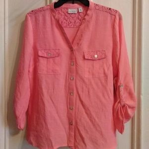 NWT Kim Rogers size PM 3/4 Sleeve Button Down top